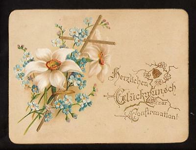 c.1890 gold cross congratulation confirmation religion victorian card germany