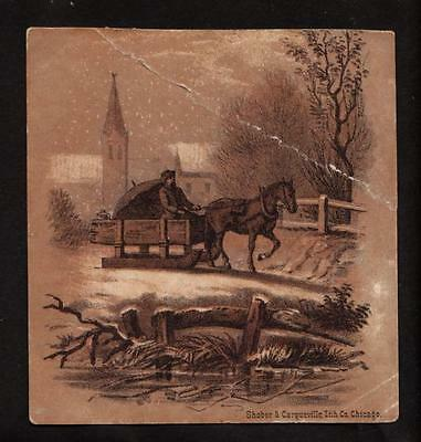 c.1890 horse pulling sled snow scene victorian greeting card