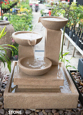 Outdoor Garden Patio Water Feature Trio Cascading Cup Fountain Sand Stone