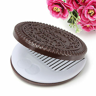 Cute Chocolate Cookie Portable Makeup Cosmetic Compact Mirror With Comb New