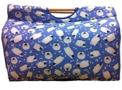 Pretty Light Baby Blue with White Sheep Pattern Large Craft Bag Knitting Storage