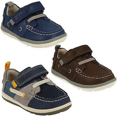 SOFTLY BOAT BOYS CLARKS RIPTAPE STRAP LIGHTWEIGHT LEATHER SMART SHOES TRAINERS