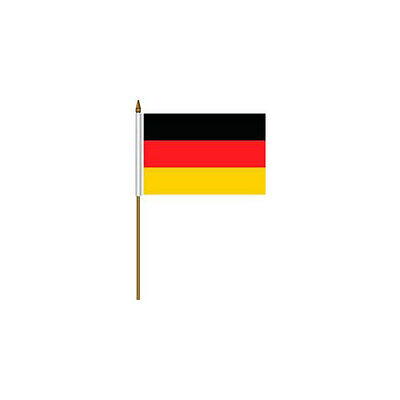 """Germany Plain Country Small 4 X 6  Mini Stick Flag With 10"""" Plastic Pole .. New"""
