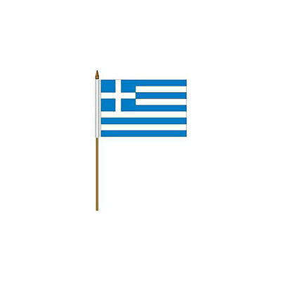 """Greece  Country Small 4 X 6  Mini Stick Flag With 10"""" Plastic Pole"""