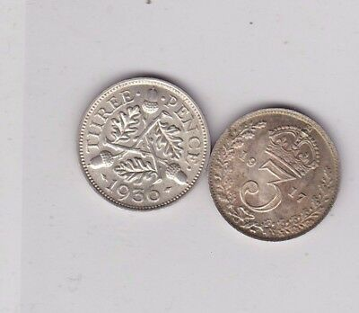 1917 & 1936 Silver Three Pence Coins In Near Mint Condition