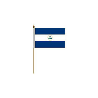 "Nicaragua Country Small 4 X 6  Mini Stick Flag With 10"" Plastic Pole .. New"