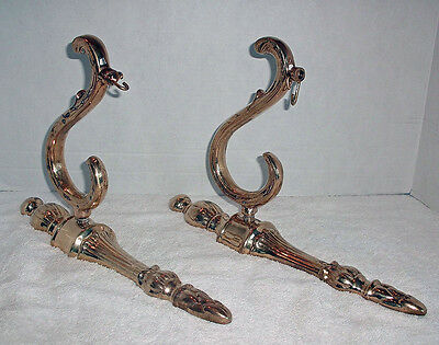 Ornate Pair Of Heavy Solid Brass Shelf Brackets Or For Hanging Baskets Vintage