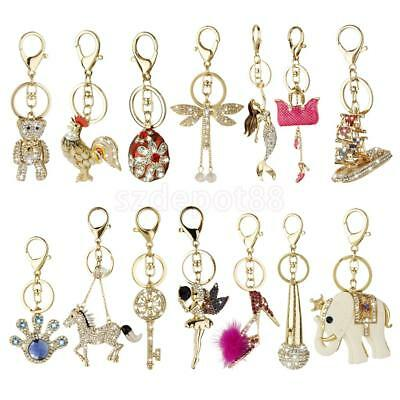 Rhinestone Crystal Keychain Gift Keyring Charm Pendant Purse Bag Key Ring Chain