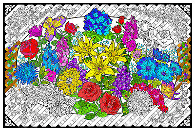 Flower Explosion - Giant Coloring Poster (32.5 x 22 inches)