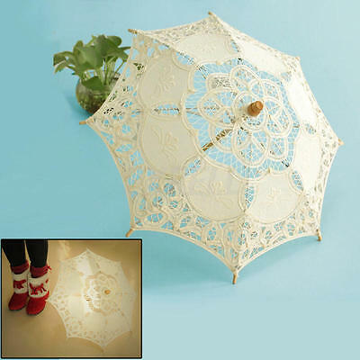 Chic Handmade Cotton Lace Ivory White Parasol Umbrella Decoration