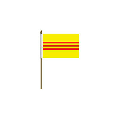 """South Vietnam Country 4 X 6 Mini Stick Flag With 10"""" Plastic Pole"""