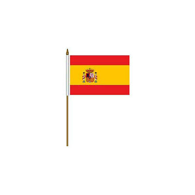 """Spain Country 4 X 6 Mini Stick Flag With 10"""" Plastic Pole"""