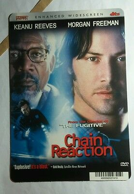 CHAIN REACTION KEANU REEVES MORGAN FREEMAN MINI POSTER BACKER CARD (NOT A movie)