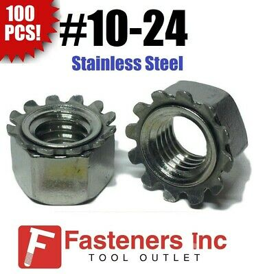 (Qty 100) #10-24 Kep Hex Star Lock Nuts Stainless Steel CoarseThread 18-8 / 304