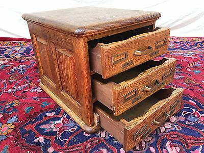 Victorian Tiger Oak Raised Panel 3 Drawer Office Desktop Antique File Cabinet