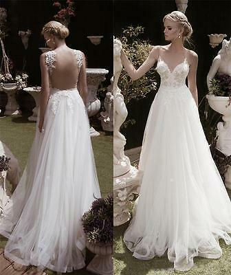 Sexy Backless Lace Applique Beach Wedding Dress Bridal Gown 2 4 6 8 10 12 14 +
