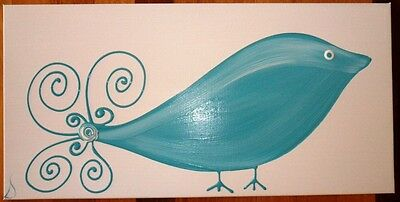 Original Modern Abstract Canvas Painting Bird White Turquoise Dee's Funky Art