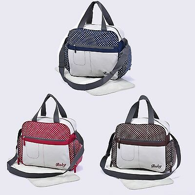 Baby Nappy Diaper Changing Bags Grey/Polka Dots Design 6500 NEW
