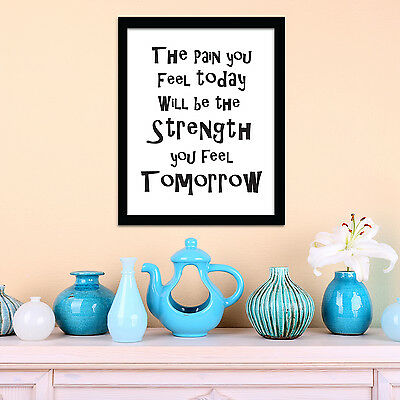 Mural Wall Stickers Home Frame Sticker Strength Decoration Quote 30cm x 40cm