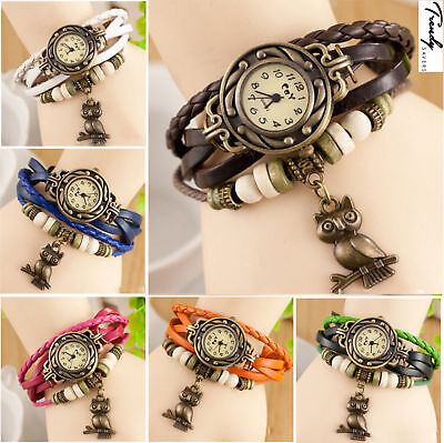 Hippie Bohemian Style Women Girls Leather Bracelet Owl Quartz Boho Wrist Watches