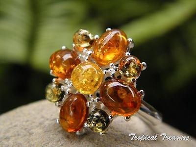 Baltic Amber & 925 SOLID Silver RING (Size 7, N 1/2)    #276321
