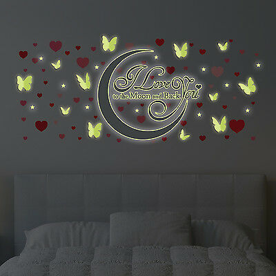 Decoration Stickers Wall Butterfly Love Valentines Heart Glow Moon 220cm x 130cm