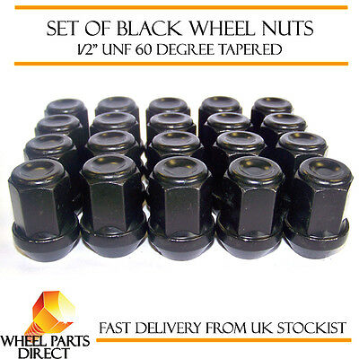 "Alloy Wheel Nuts Black (20) 1/2"" UNF Tapered for Jeep Wrangler 1986-2015"