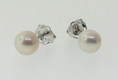 9ct White Gold Stud Earrings With 6mm Cultured Pearl