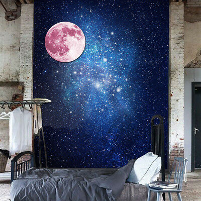 Mural Decoration Decal Home Art Glow Dark Moon Pink Wall Stickers 30cm x 30cm
