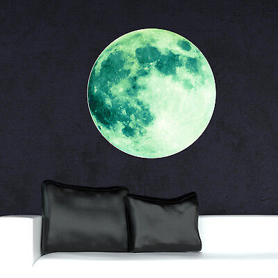 Wall Home Art Mural Stickers Decoration Glow Dark Moon Green Decal 50cm x 50cm