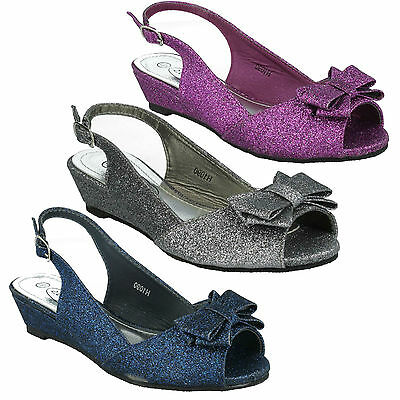 Girls Spot On Small Wedge Heel Bow Pretty Navy Purple Glitter Sandals H1090