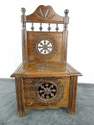 Antique French Breton Carved Wood Chair Furniture Dolhouse