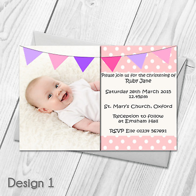 Personalised Christening Invitations | Baptism Invites | Baby Photo | Boy Girl