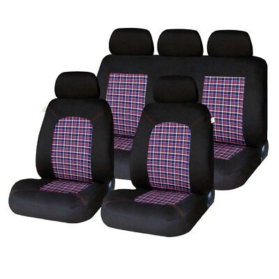 9 PCE Lambeth Tartan GTI Checked Design Car Seat Covers VW POLO MK1 2 3 5 6 7