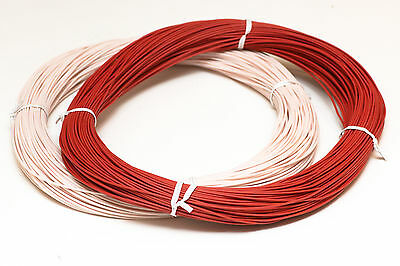 Auric ONHO mono crystal Hook-Up wire 21AWG stranded copper (USA) - Red/White, 1m