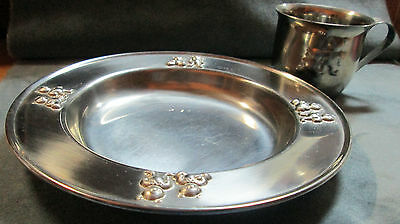 Matching Stainless Steel Child's Cup & Bowl With Embossed Bears