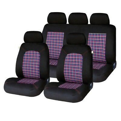 Lambeth Tartan GTI Black, Red, Grey Stitching Checked Full Car Set Seat Covers