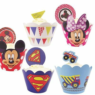 12x Party Cupcake Wrappers with Toppers! Kids Cartoon Superhero Disney