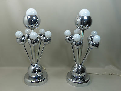 Rare Pair of Mid Century Modern Italian Chrome Sputnik Lamps by Torino Lamp Co.
