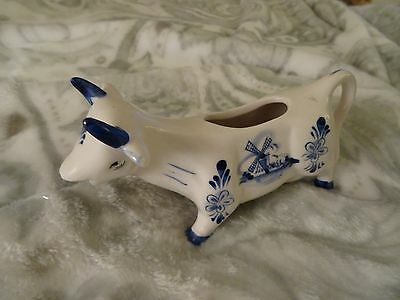 Vintage Hand Painted Delft Blue  Cow Creamer Blue & White (5)