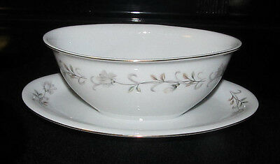 Fine Seyei China Gravy Boat w/ Attached Under Plate Nagoya Japan Floral