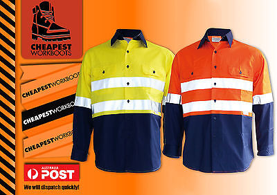 10x Hi Vis Cotton Drill Shirt Reflective, Vents Long Sleeve Safety Work Wear