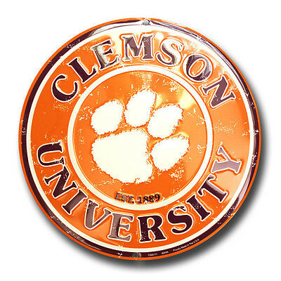 "Clemson Tigers 12"" Round Metal Sign Clemson Tigers Man Cave"
