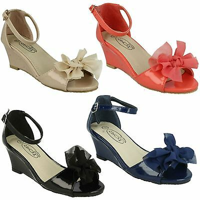 Girls Spot On H1R074 Mid Wedge Heel Bow Detail Buckle Ankle Strap Party Sandals