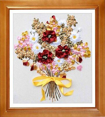 Ribbon Embroidery Kit Lucky Bouquet Bunch of Flowers Needlework Craft Kit RE3067