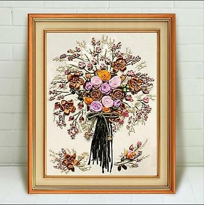 Ribbon Embroidery Kit Bouquet Bunch of Flowers Needlework Craft Kit RE3068