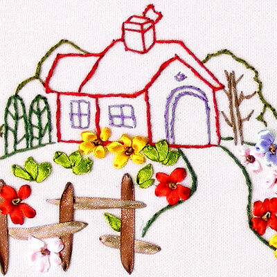 Beginner Ribbon Embroidery Kit Beautiful Farm Needlework Craft Kit RE3070