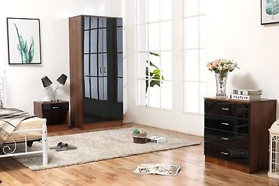 Black & Walnut High Gloss Bedroom Furniture-Soft Close Wardrobe, Chest & Bedside