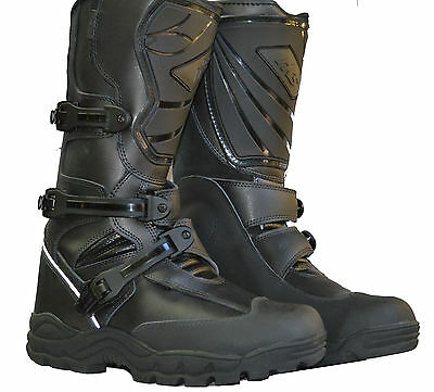 Rksports Mens Motorcycle Touring Adventure Black Leather Waterproof Boots