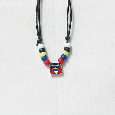 Antigua & Barbuda Country Flag Small Metal Necklace Choker .. New
